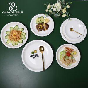 Vajilla fina de la porción del hotel de la porcelana plato profundo de cena de la porcelana gruesa de 8 pulgadas