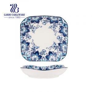 Plato de porcelana fina de vajilla al por mayor de decoración única personalizada plato de porcelana cuadrada de 8.5 pulgadas