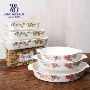 10-дюймовые фарфоровые формы для выпечки из 3 предметов с декором для ушей и цветов