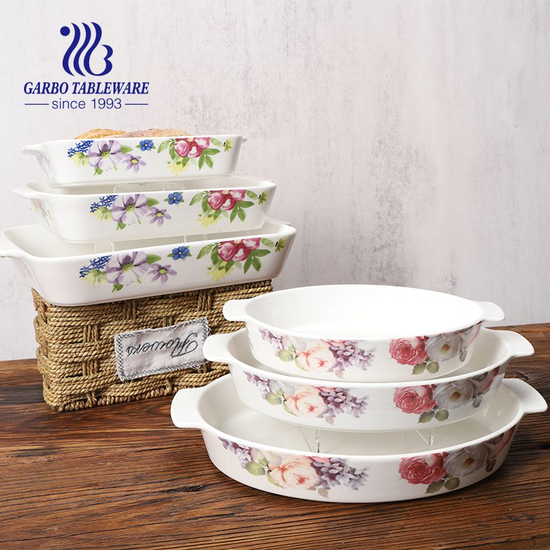 3 pcs ceramic baking set with ear and colorful flower decal