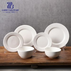 Juego de vajilla de porcelana blanca con diseño en relieve 12 piezas