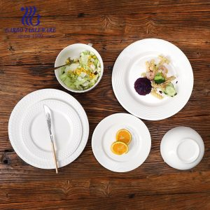 New white porcelain embossed design dinner set