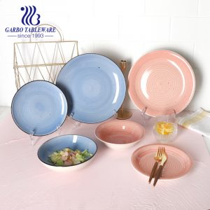 12pcs color glazed stoneware plate bowl dinnerware set