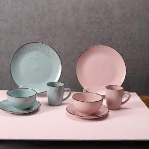 16шт розовый и синий цвет глазурованная керамическая тарелка чаша кружка набор посуды