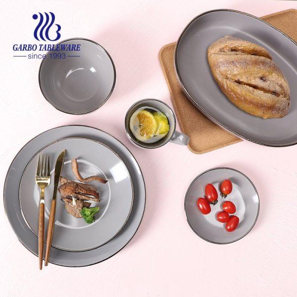 conjunto de jantar de grés cinza