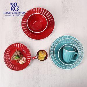 16 PCS stoneware plates set