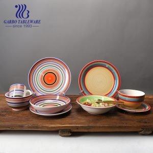 Juego de cena de cerámica de pintura a mano esmaltada en color arcoíris clásico de 16 piezas