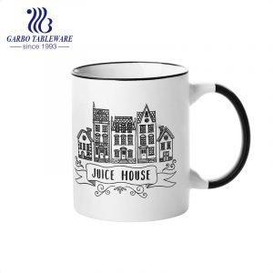 Classic ceramic drinking mug porcelain water cup with black color handle stoneware custom print juice mugs set drink ware