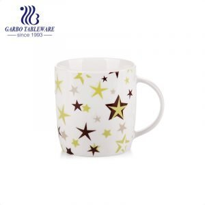 Star full print porcelain white drinking mug ceramic water mug coffee drinks cup for office and home promotional gift cups