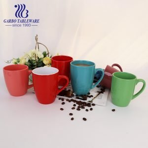 Red color ceramic mug smooth stoneware water mug coffee drinking office china cup porcelain drinks ware
