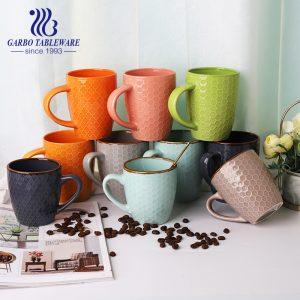 Outer embossed ceramic drinking mug colorful porcelain cups stoneware mug set bulk pack dark grey coffee drink ware sets