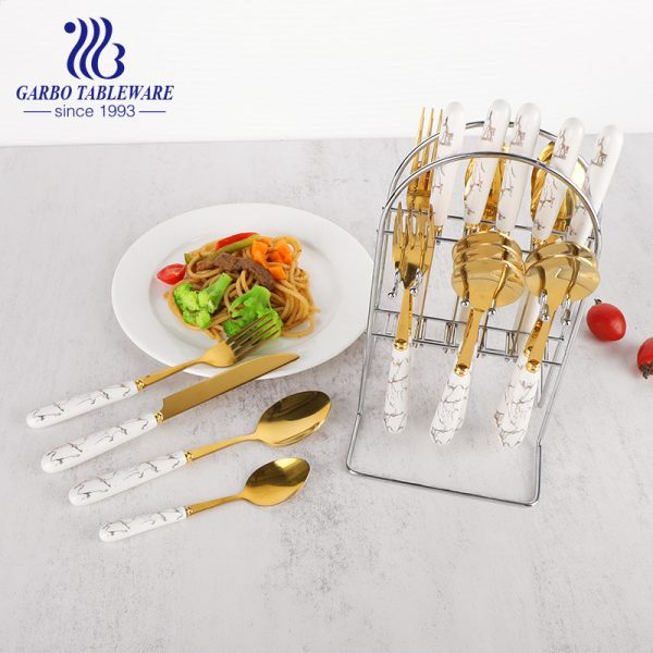Luxury 24 PCS Golden Stainless Steel Flatware Set with Marble Handle and Golden Shelf