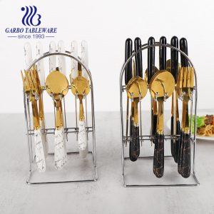 24шт Роскошная керамическая мраморная ручка, дизайн 410 столовых приборов из нержавеющей стали, столовая ложка в золоте
