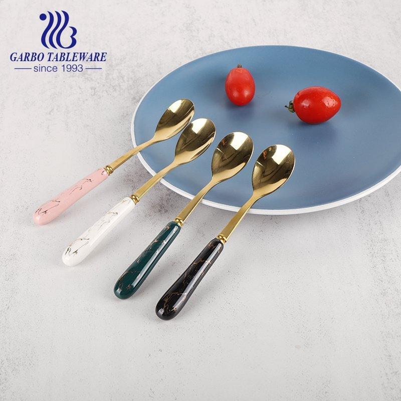 410SS Elegant 4 color design ceramic handle design flatware stainless steel dessert tea spoon