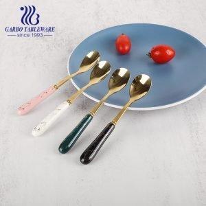 410SS Элегантный 4-х цветный дизайн с керамической ручкой, столовые приборы из нержавеющей стали, десертная чайная ложка