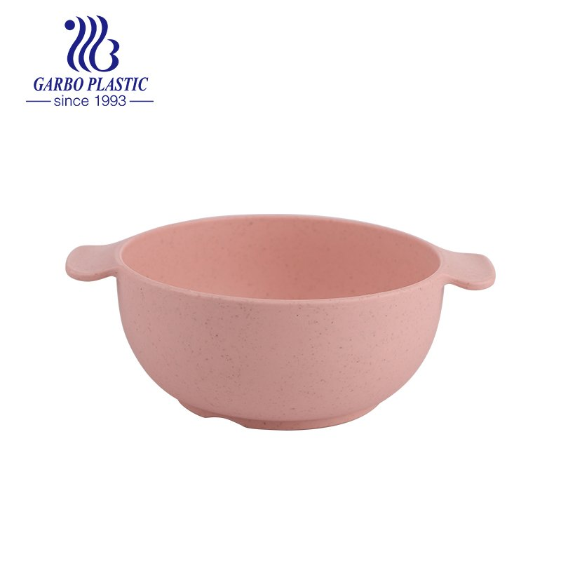 wheat straw sweet pink-colored plastic cereal fruit salad bowl with ear handle