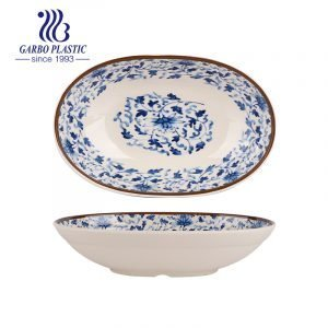 Hot sales strong new plastic oval plates for table serving with blue flower designs can be microwave and dishwasher safe