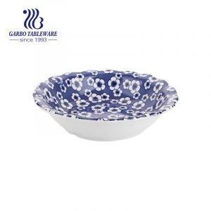 Керамическая большая суповая чаша 250 мм с цветным декором под глазурью