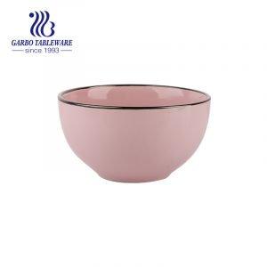 Новое поступление керамической посуды 640 мл розового риса с цветной глазурованной наклейкой
