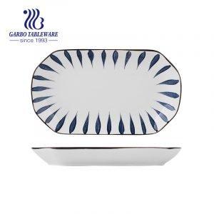 Оптовые необычные уникальные под глазурованной печатью 10.7-дюймовая прямоугольная фарфоровая тарелка