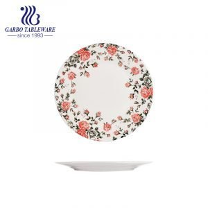 Wholesale cheap custom under glazed food grade 9inch ceramic charger plate with flower design