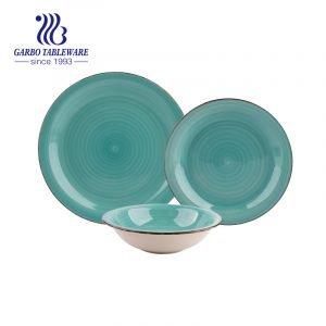 Набор посуды из керамогранита с зеленой ручной росписью, 12 шт.
