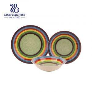 12шт радуга ручная роспись керамическая миска и тарелка набор посуды