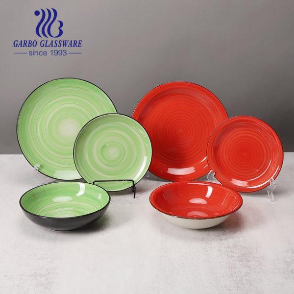 Luxury 12 pcs green and red glaze stoneware set