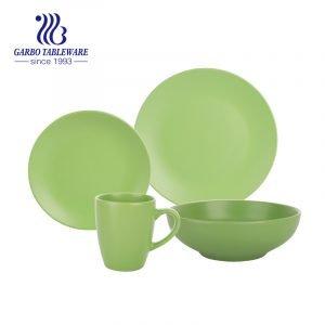 Столовый сервиз из глазурованного керамогранита свежего зеленого цвета