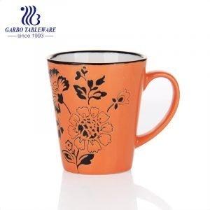 Full print black rim ceramic coffee drinking mug stoneware hand paint cup classic china stone mugs