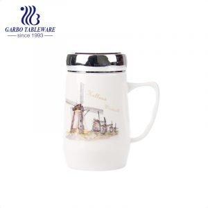 Фарфоровая первоклассная керамическая кружка кружки для питья горячей воды большой принт на животе чашка для напитков с ручкой и крышкой