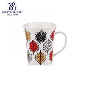 Full leaves print porcelain drinks mug creative beautiful design cups with white handle