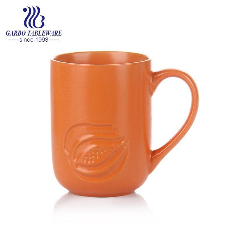Engraved stoneware color glaze ceramic mug