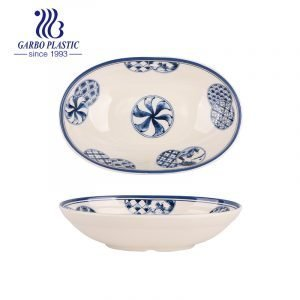 Strong Plastic Serving Platters Oval Shaped Soup Plates with Flower BAP free and Dishwasher safe Plastic Serving Plates