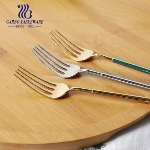 Custom stainless steel fork with heavy and colorful handle for hotel and resutaurant