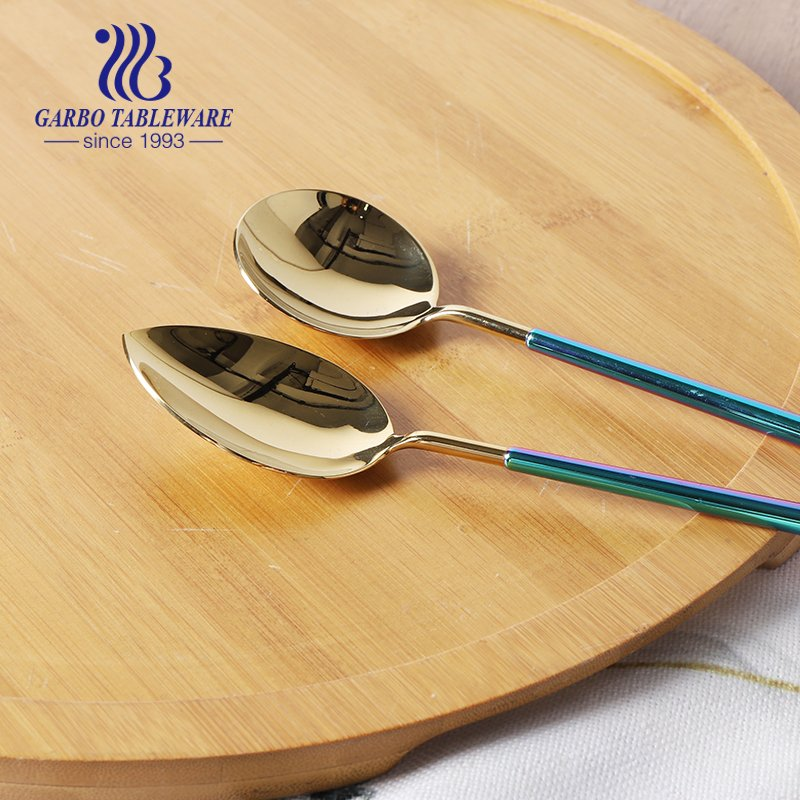 In stock Titanium plating High end 304SS stainless steel flatware set dinner spoon for hotel