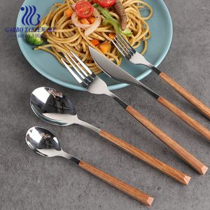 430 Stainless steel 24 pieces flatware set wooden ABS handle hand polished cutlery set