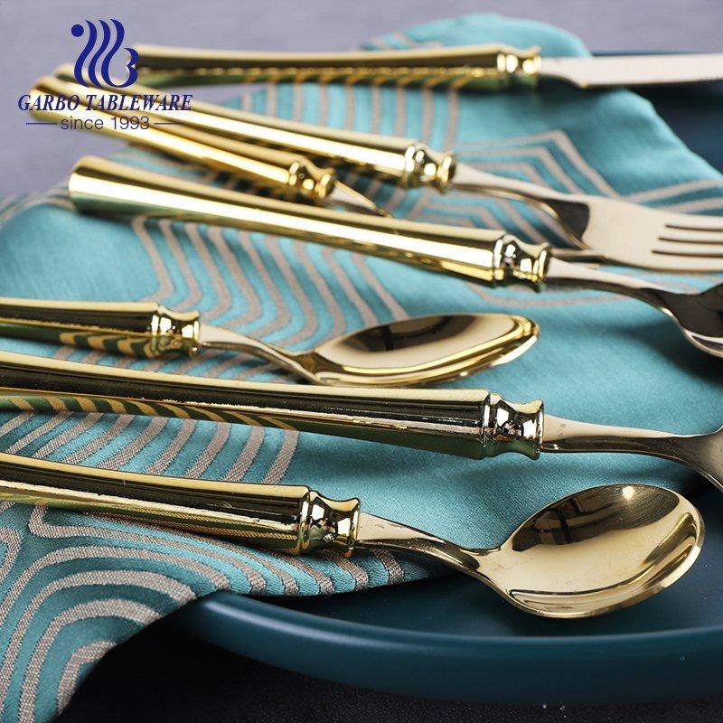 ABS plastic handle golden Titanium plating design stainless steel cutlery dinner spoon