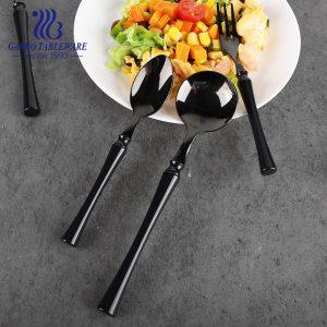 201SS أسود اللون طلاء التيتانيوم تصميم ملعقة عشاء أدوات مائدة من الفولاذ المقاوم للصدأ مع مقبض ABS