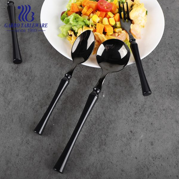 201SS Black color Titanium plating design stainless steel cutlery dinner spoon with ABS handle