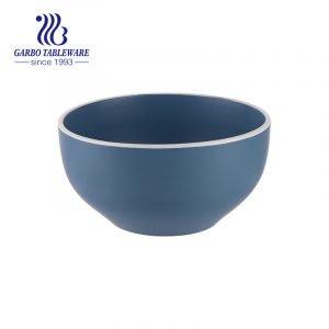 Глазурованная керамическая миска на 620 мл синего матового цвета для поедания риса