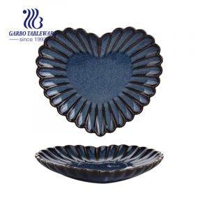 Factory customized unique daisy design plain dinner plate 8inch heart shaped porcelain dish