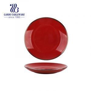 Wholesale ceramic tableware dish royal red color 8.4inch ceramic dessert plate with gold rim