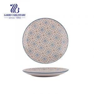 Custom full handmade printing food grade tableware 10.5inch round ceramic charger plate
