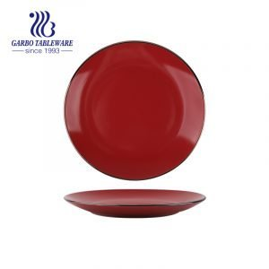 Wholesale unique red color glazed royal 10.5inch ceramic flat dinner plate with gold rim
