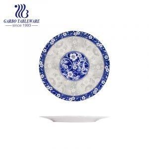 China classic under glazed decal food grade stoneware dish 9inch ceramic flat dinner plate