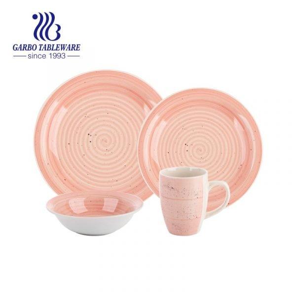 pink stoneware dinner set