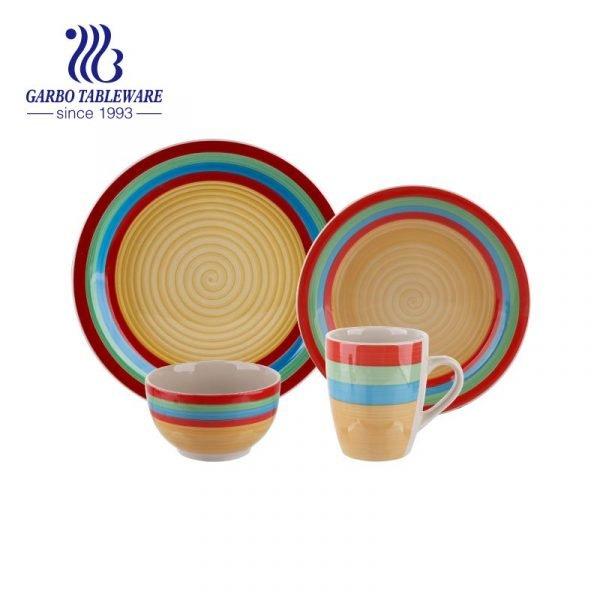 colorful stoneware dinner set