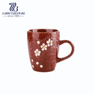 Stoneware engraved ceramic coffee drinking mugs set with handle cups tumbler dinner tableware cup