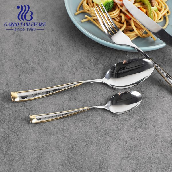 410SS 13/0 Gold Plated Stainless Steel Cutlery Set Kitchen Fork Spoon Knife Cutlery